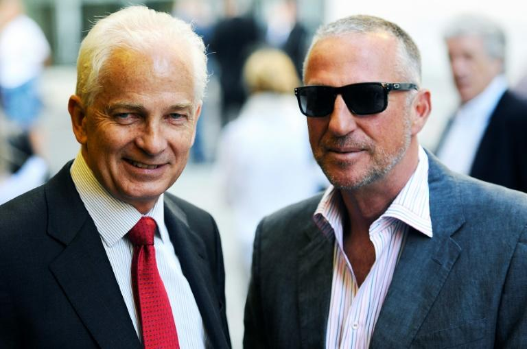 Thank you West Indies  - Former England captain David Gower (L, with Ian Botham)