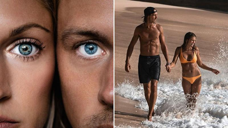 Close up picture of the couple's eyes and photo of Kelly Castille and Kody Workman running along the beach.