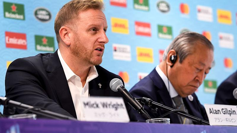 Tournament director Alan Gilpin, pictured here speaking to the media at the Rugby World Cup.