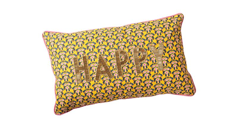 Floral Happy Yellow Cotton Cushion