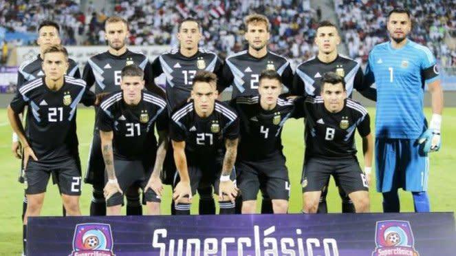 Skuat Timnas Argentina dalam laga uji coba kontra Irak