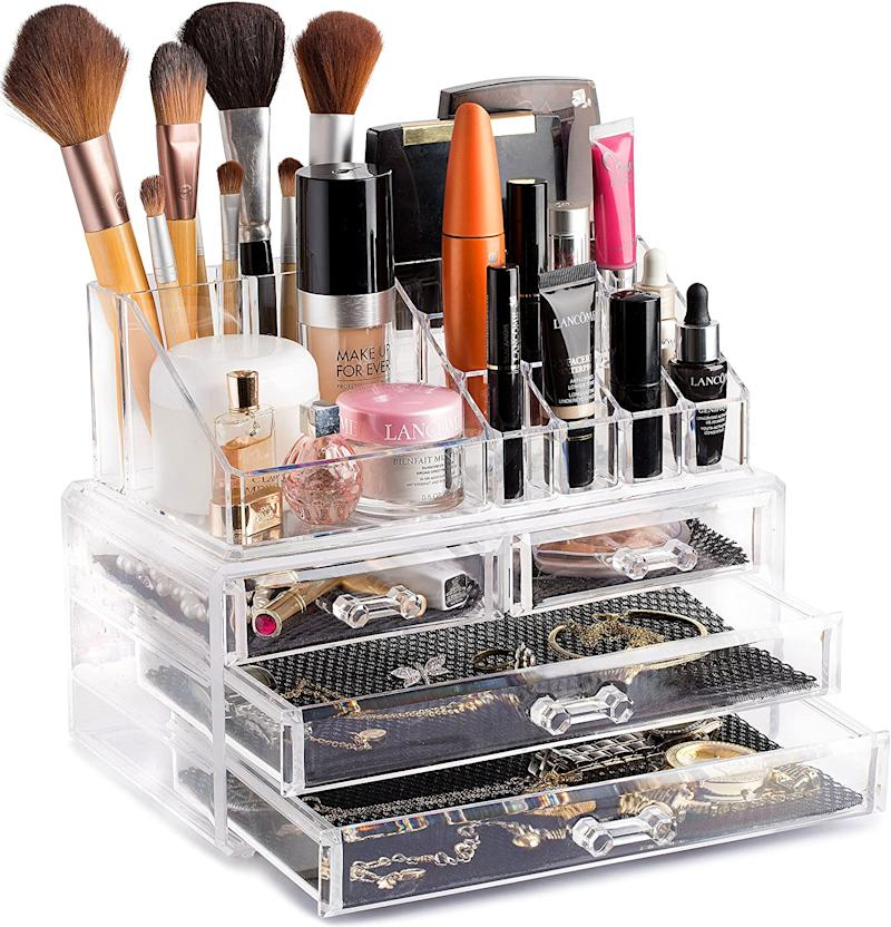 Clear Cosmetic Storage Organizer. (Image via Amazon)