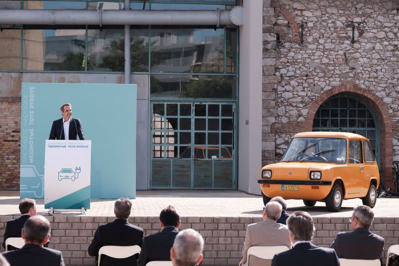 Greek Prime Minister Kyriakos Mitsotakis speaks during an event about the country's low-carbon mobility plan, in Athens