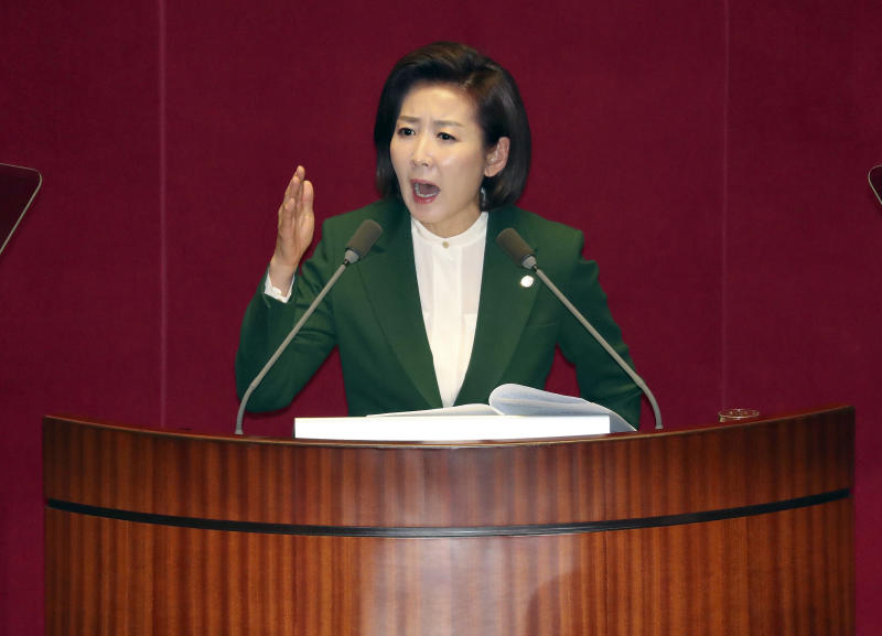 """FILE - In this Tuesday, March 12, 2019, file photo, Na Kyung-won, the floor leader of the main opposition Liberty Korea Party, delivers a speech at the National Assembly in Seoul, South Korea. International journalists' organizations on Tuesday, March 19, 2019, have expressed concern over South Korea's press freedoms after the country's ruling party singled out a Bloomberg reporter over what it claimed was a """"borderline treacherous"""" article insulting President Moon Jae-in, resulting in threats to the reporter's safety. (Kim Hyun-tai/Yonhap via AP, File)"""