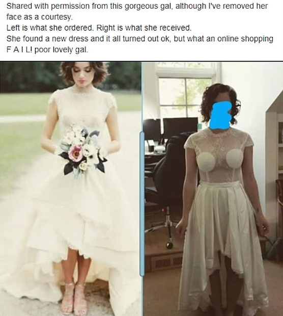Wedding dress online shopping fail facebook wedding shaming group