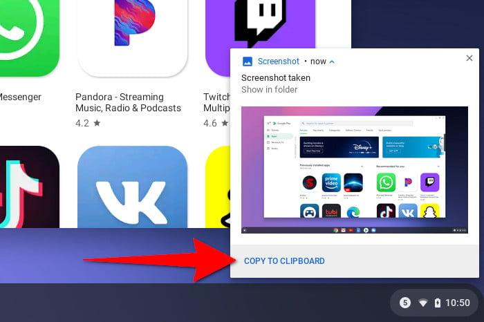 Chrome OS Copy Screenshot to Clipboard