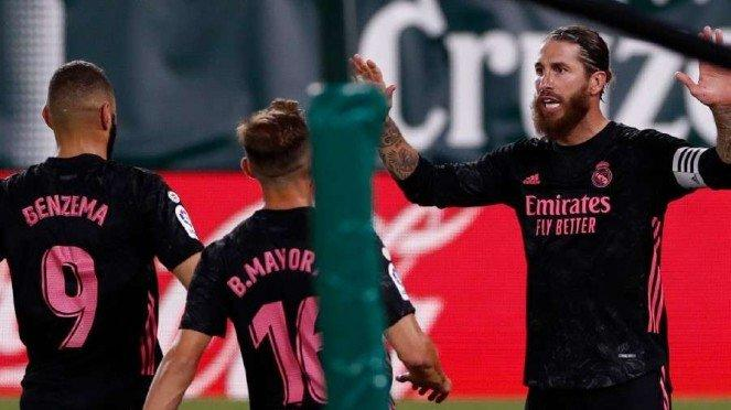 Selebrasi pemain Real Madrid usai kalahkan Real Betis