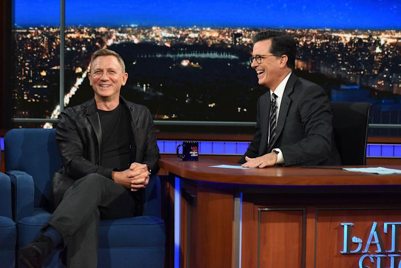 The Late Show with Stephen Colbert and guest Daniel Craig during Tuesday's August 15, 2017 show. (Photo by Scott Kowalchyk/CBS via Getty Images)