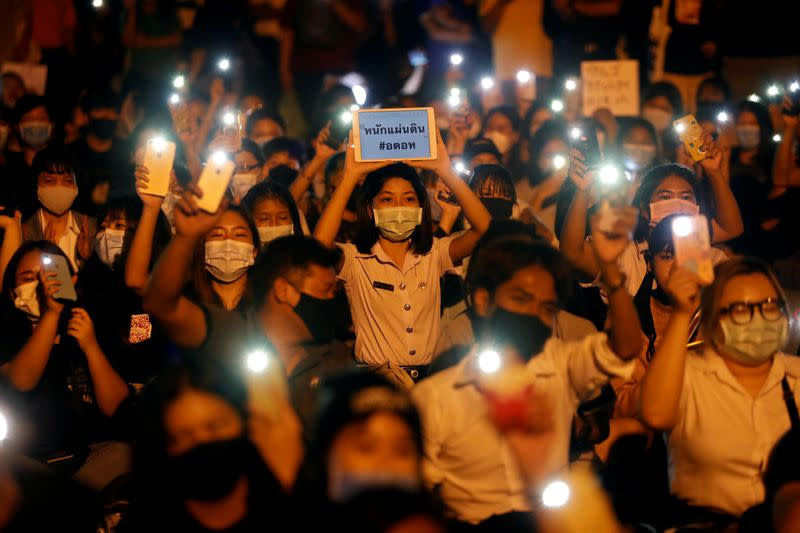 Young Thais call for government to resign in night protest