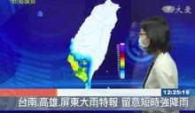 台南.高雄.屏東大雨特報 留意短時強降雨