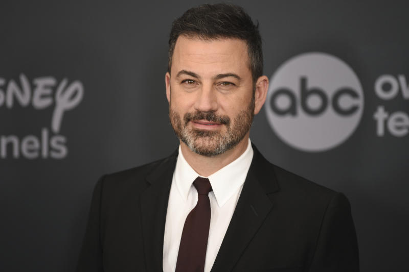 """FILE - This May 14, 2019 file photo shows Jimmy Kimmel at the Walt Disney Television 2019 upfront in New York. Kimmel apologized Tuesday for his 1990s blackface impressions of NBA player Karl Malone and other Black celebrities but, in a lengthy statement, said he was frustrated that his """"thoughtless moments"""" are being used to diminish his criticism of injustices. (Photo by Evan Agostini/Invision/AP, File)"""