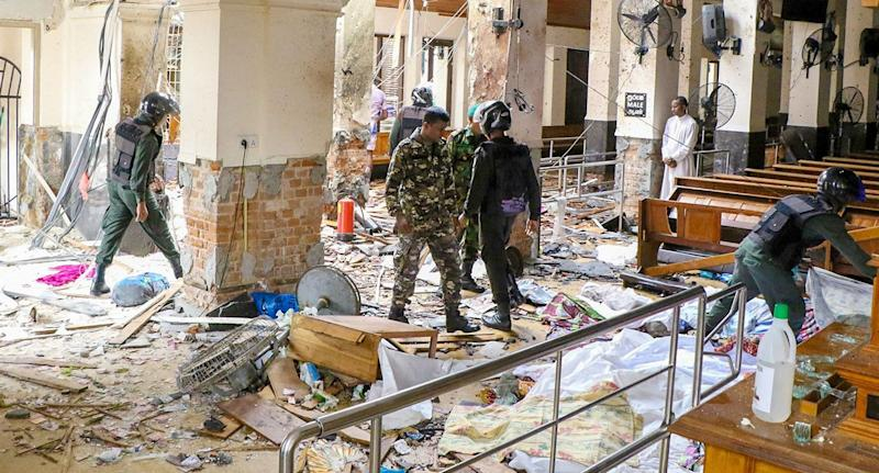 Security forces after an explosion at St Anthony's Church in Colombo, Sri Lanka.
