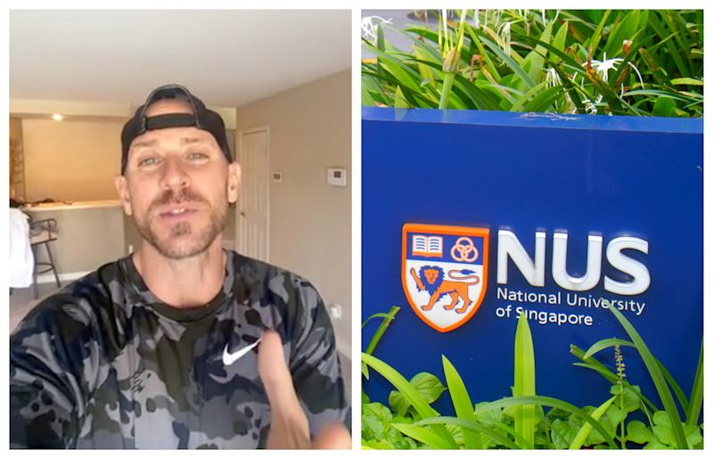 Pornography actor Johnny Sins sent graduating students of the 2020 class of the National University of Singapore a congratulatory video message from celebrity shoutout provider Cameo. (Photos: Cameo screenshot/Getty Images)
