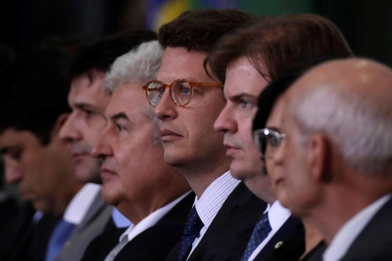Brazil's Environment Minister Ricardo Salles looks on during the ceremony of the 300 days of Government, in Brasilia