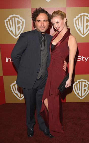 2013 InStyle and Warner Bros. 70th Annual Golden Globe Awards Post-Party: Johnny Galecki and Kelli Garner