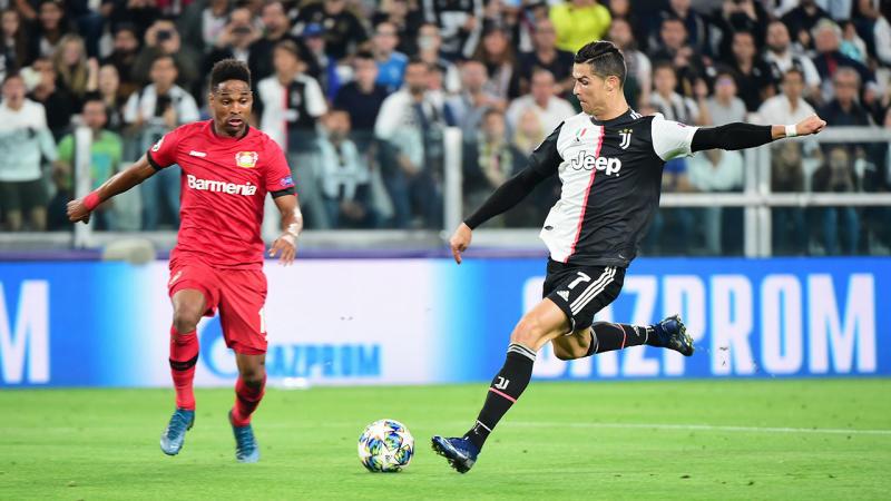 Cristiano Ronaldo scored Juventus' third goal against Bayer Leverkusen.
