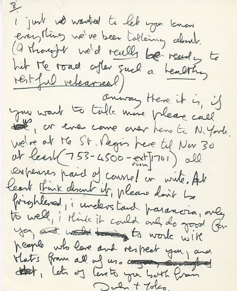 This undated photo provided by Profiles in History shows the second page of a hand written letter from John Lennon to Eric Clapton. The two-page letter is expected to draw between $20 thousand to $30 thousand during an online and phone auction by Profiles in History on Dec. 18, 2012. (AP Photo/Profiles in History)