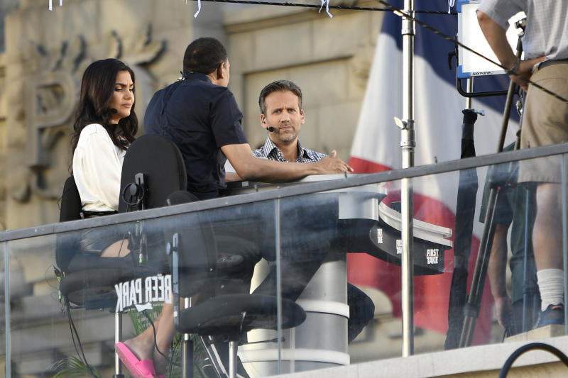 LAS VEGAS, NV - SEPTEMBER 14: Molly Qerim, Stephen A. Smith and Max Kellerman on the set of ESPN's First Take at the Beer Park at The Paris Hotel in Las Vegas, Nevada. September 14, 2018. Credit: Damairs Carter/MediaPunch /IPX