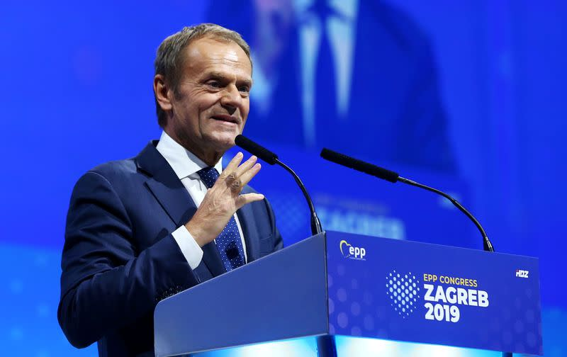 FILE PHOTO: Newly elected President of EPP Donald Tusk speaks during the EPP congress in Arena Zagreb hall in Zagreb