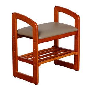 實木高扶手換鞋凳