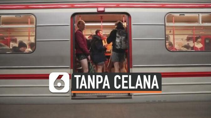 VIDEO: Orang-Orang Naik Kereta Tanpa Pakai Celana, Ada Apa?