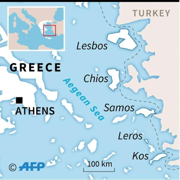 Map of the Aegean locating the Greek islands of Lesbos, Samos, Chios, Leros and Kos, which have been at the forefront of the migration crisis for the past five years