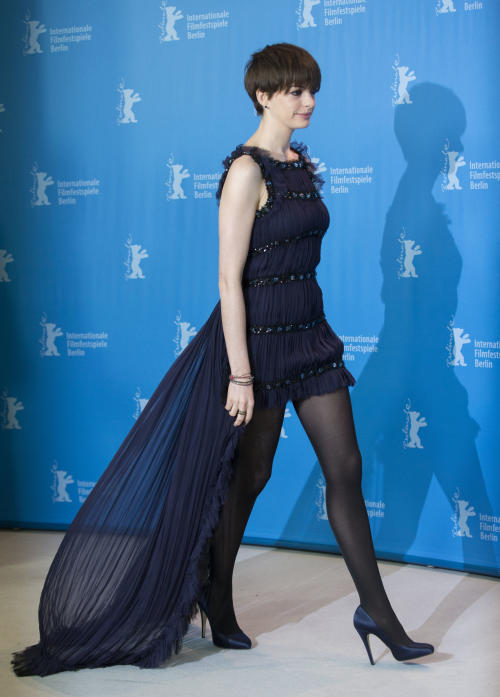 Actress Anne Hathaway arrives at the photo call of the film Les Miserables at the 63rd edition of the Berlinale, International Film Festival in Berlin, Germany, Saturday, Feb. 9, 2013. (AP Photo/Gero Breloer)