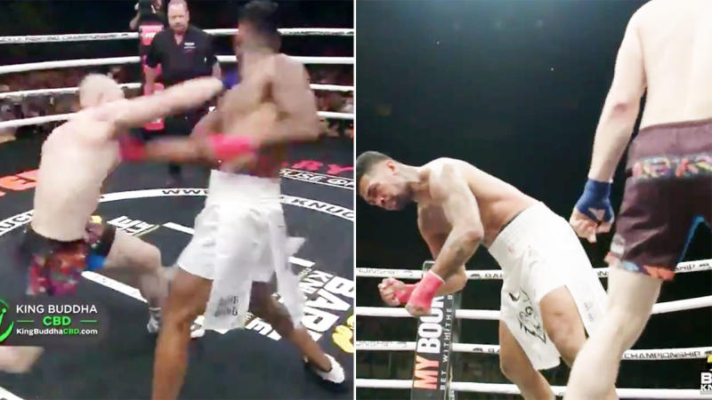 The bare-knuckle bout ended in sickening fashion as Johnavan Vistante crashed to the canvas. Image: Bare Knuckle FC