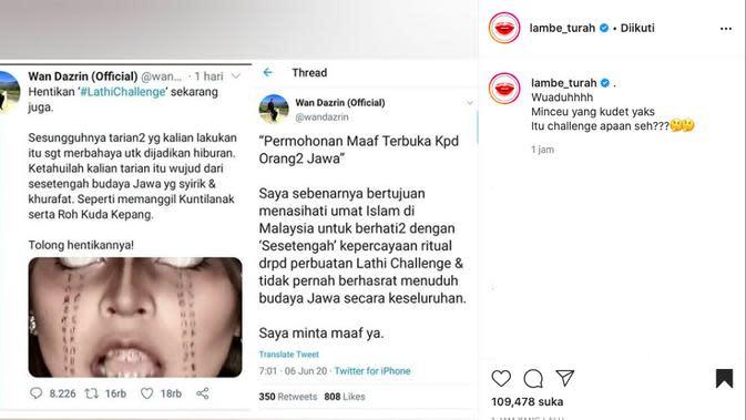 Lathi Challenge Dituduh Sesat dan Ritual Memanggil Setan. (instagram.com/lambe_turah)