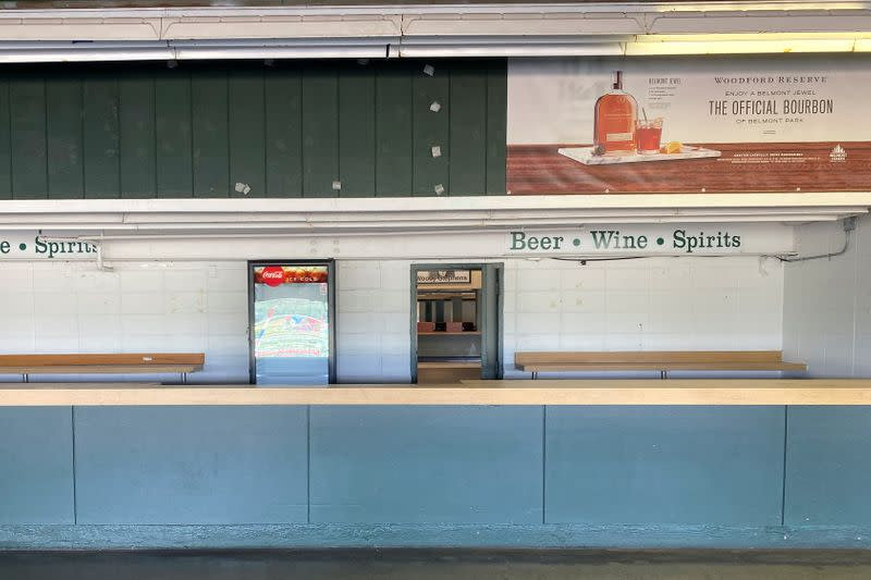 A concession stand sits empty at Belmont Park ahead of the 152nd running of the Belmont Stakes