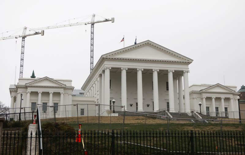Chain-link fence has been set in place on the grounds of the Virginia State Capitol ahead of a gun rights advocates and militia members rally in Richmond, Virginia