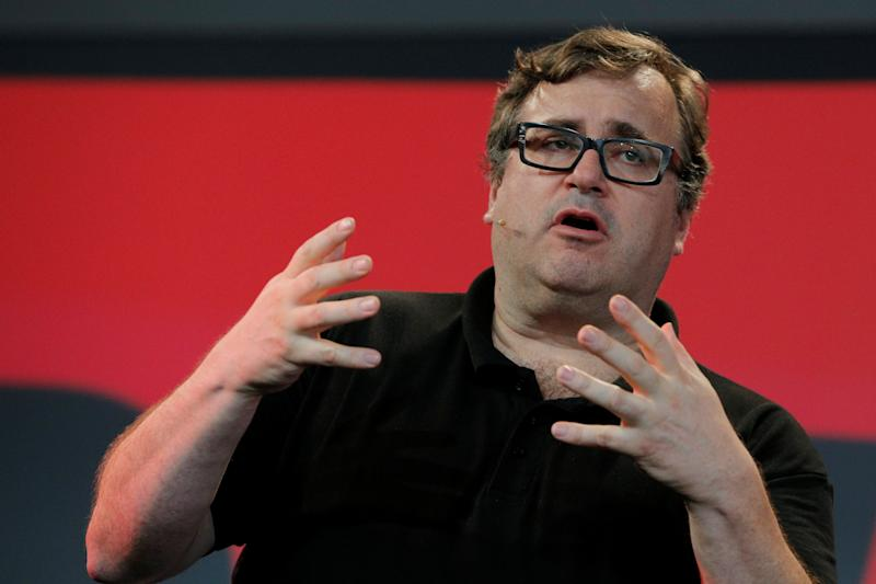 """Reid Hoffman, co-founder of LinkedIn, speaks before presenting the inaugural Disobedience Award, which he funded, during """"Defiance!"""" at Massachusetts Institute of Technology (MIT) in Cambridge, Massachusetts, U.S., July 21, 2017. REUTERS/Brian Snyder"""