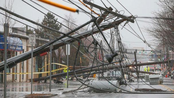PHOTO: Wind knocks down power poles onto Arsenal Street in Watertown, Mass., March 2, 2018. (Greg Cooper/EPA-EFE via REX/Shutterstock)