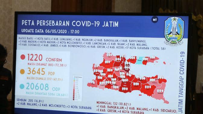 Peta persebaran Corona COVID-19 di Jawa Timur pada Rabu, 6 Mei 2020. (Foto: Liputan6.com/Dian Kurniawan)