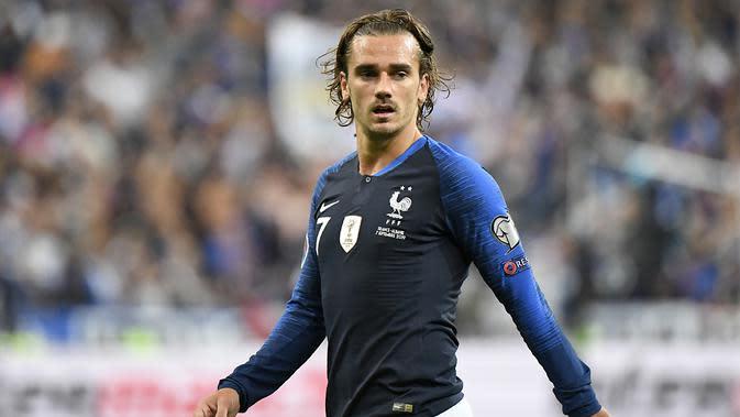 Striker Timnas Prancis, Antoine Griezmann, pada laga Kualifikasi Piala Eropa 2020 kontra Albania di Stade de France, Paris, Sabtu (7/9/2019) (Lionel Bonaventure / AFP)