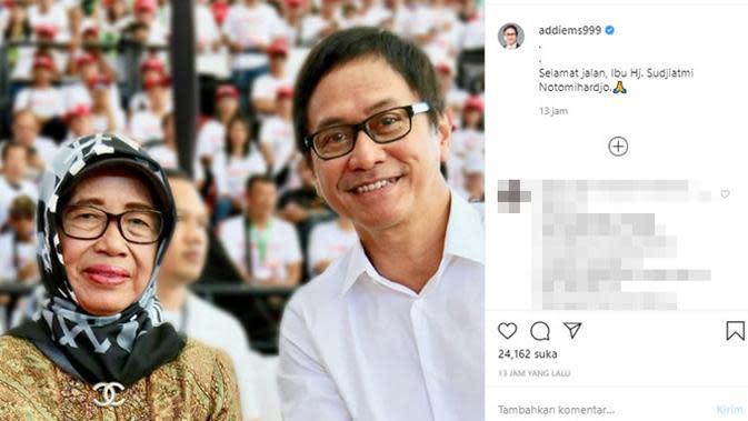 Ungkapan duka meninggalnya ibunda Presiden Jokowi dari para artis. (Sumber: Instagram/@addiems999)