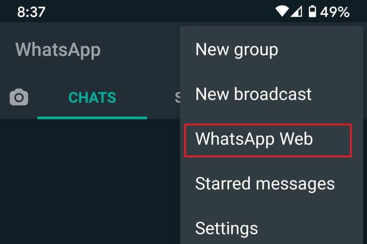 WhatsApp Web mobile app screenshot