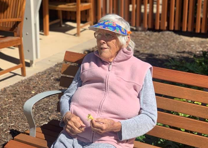 Pictured is Val Hopper. Her grandson is encouraging others to take their pets to visit their relatives with dementia after seeing the joy it brings to his grandmother.