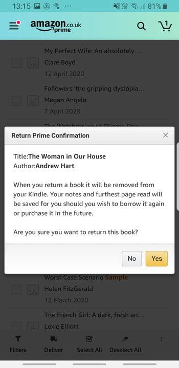Screenshot of confirmation of returning borrowed Amazon Kindle books