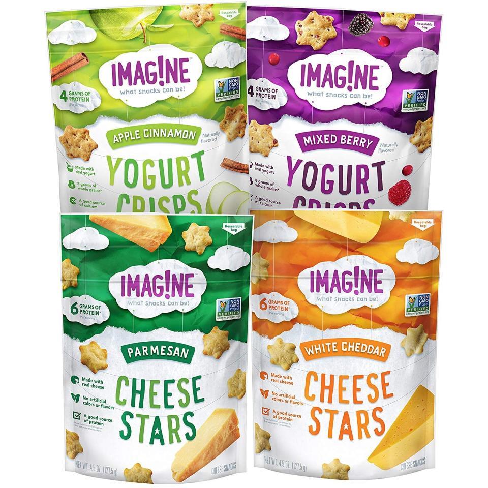 "<p>These <a href=""https://www.popsugar.com/buy/Imagne-Cheese-Stars-Yogurt-Crisps-479984?p_name=Imag%21ne%20Cheese%20Stars%20and%20Yogurt%20Crisps&retailer=amazon.com&pid=479984&price=13&evar1=moms%3Aus&evar9=46499451&evar98=https%3A%2F%2Fwww.popsugar.com%2Ffamily%2Fphoto-gallery%2F46499451%2Fimage%2F46499456%2FImagne-Cheese-Stars-Yogurt-Crisps&list1=shopping%2Chealthy%20snacks%2Csnacks&prop13=api&pdata=1"" rel=""nofollow"" data-shoppable-link=""1"" target=""_blank"" class=""ga-track"" data-ga-category=""Related"" data-ga-label=""https://www.amazon.com/Imag-Cheese-Yogurt-Sampler-Variety/dp/B07C243VC2/ref=sr_1_53?crid=2RAHHOSQSKWG3&amp;keywords=snacks%2Bfor%2Bkids&amp;qid=1565797779&amp;s=gateway&amp;sprefix=snacks%2Bfor%2Caps%2C120&amp;sr=8-53&amp;th=1"" data-ga-action=""In-Line Links"">Imag!ne Cheese Stars and Yogurt Crisps</a> ($13 for four) are beloved by kids and parents alike.</p>"