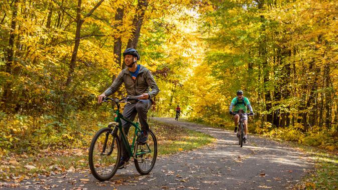 Sejumlah pesepeda menikmati keindahan dedaunan musim gugur di Island Lake Recreation Center di Livingston County, Michigan, Amerika Serikat, pada 11 Oktober 2020. (Xinhua/Joel Lerner)