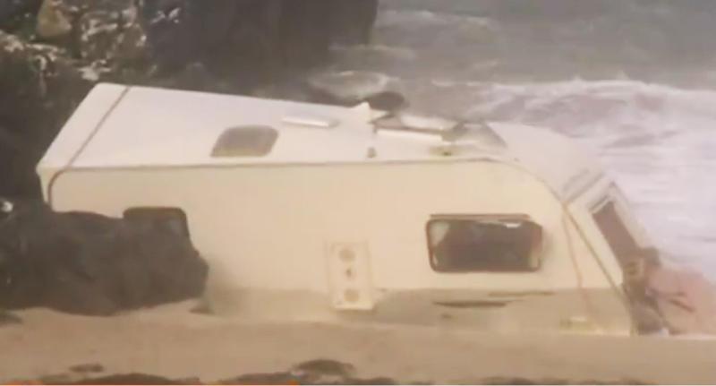 Woman in Ireland dies after caravan blows off cliff in Storm Ali