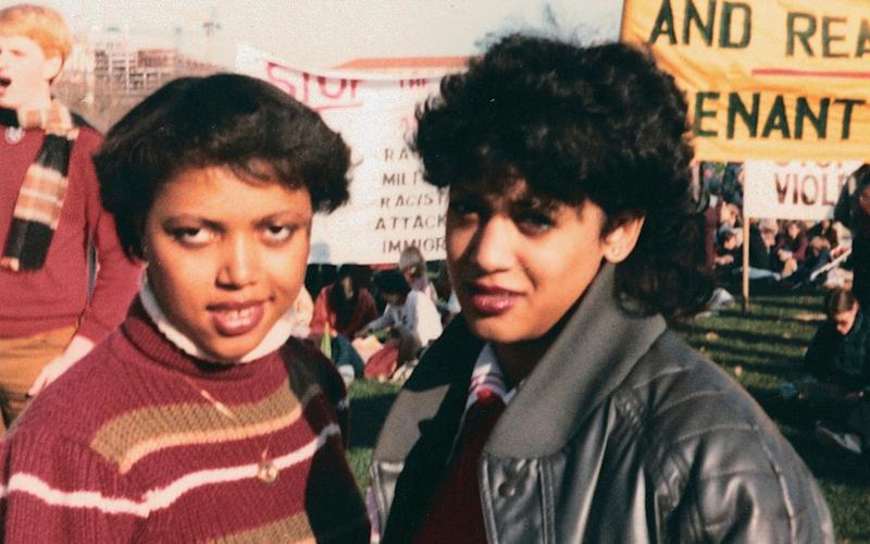 This November 1982 photo provided by the Kamala Harris campaign shows her, right, with Gwen Whitfield at an anti-apartheid protest during her freshman year at Howard University in Washington. - Kamala Harris campaign/AP
