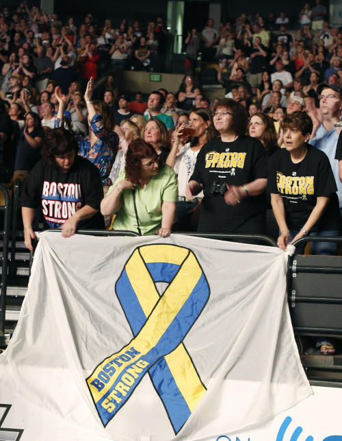 Concert goers hold a banner as they watch the Boston Strong Concert: An Evening of Support and Celebration at the TD Garden on Thursday, May 30, 2013 in Boston. (Photo by Bizuayehu Tesfaye/Invision/AP)