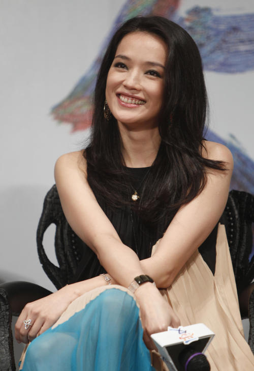 "Taiwanese actress Shu Qi listens to questions during a media event in the lead up to the premiere of her new film entitled ""Love"" in Taipei, Taiwan, Tuesday, Feb. 7, 2012. The romantic drama ""Love"" opens on Valentine's Day, Feb. 14, 2012. (AP Photo/Wally Santana)"