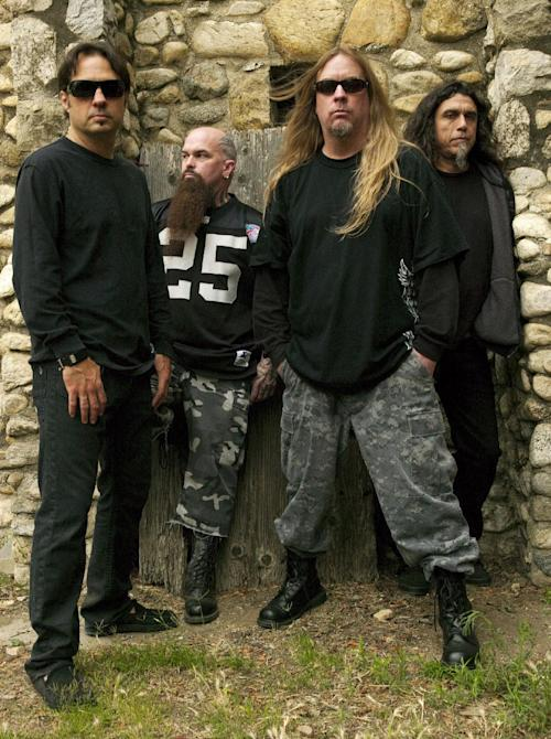 This 2009 publicity photo provided courtesy of Slayer shows, from left, Dave Lombardo, Kerry King, Jeff Hanneman and Tom Araya. Hanneman, 49, a founding member of the heavy metal band Slayer, has died. Slayer spokeswoman Heidi Robinson-Fitzgerald says Hanneman died Thursday morning, May 2, 2013, of liver failure at a Los Angeles hospital with his wife, Kathy, by his side. (AP Photo/Courtesy of Slayer, Mark Seliger)