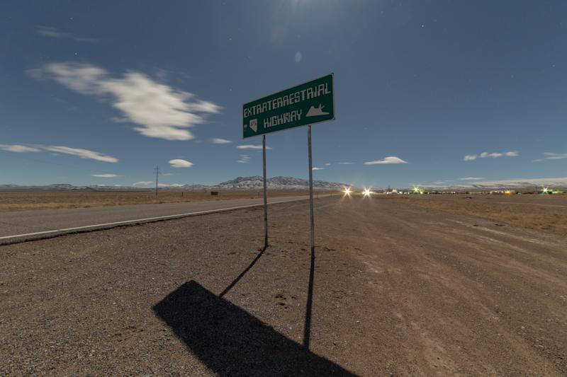 The photo shows a sign with the words Extraterrestrial Highway in Rachel, Nevada, USA.