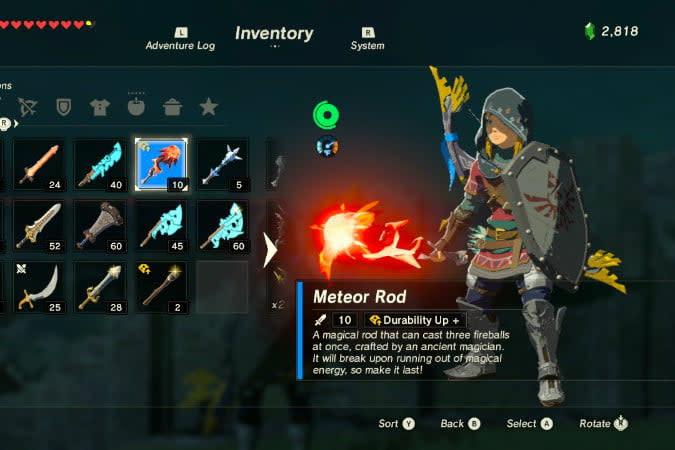 the legend of zelda breath wild best weapons meteor