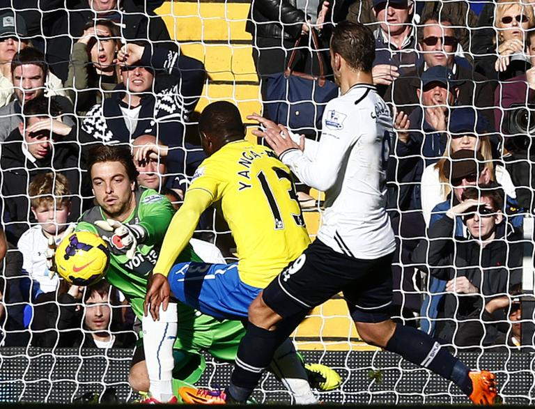 Newcastle United goalkeeper Krul makes a save from Tottenham Hotspur's Soldado during their English Premier League soccer match at White Hart Lane in London