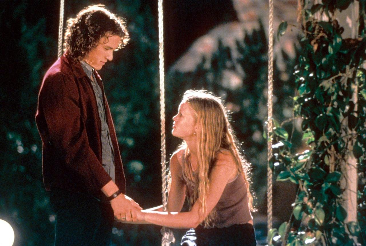 """<p>This is a 1990s Seattle-grunge take on Shakespeare's <em>The Taming of the Shrew</em>. Julia Stiles stars as Kat Stratford, who is considered abrasive and unapproachable by her classmates. Her younger sister, Bianca (Larisa Oleynik), is a bubbly preppy type who just wants to be allowed to date, but their father (Larry Miller) won't allow that until Kat does. New-kid Cameron (Joseph Gordon-Levitt) hires the school bad boy Patrick Verona (Heath Ledger) to take Kat out so Cameron can land Bianca as his girlfriend. This plot is full of so many twisty elements, it's like...Shakespeare or something.</p><p><a class=""""body-btn-link"""" href=""""https://www.amazon.com/10-Things-Hate-About-You/dp/B0063T7JGU/?tag=syn-yahoo-20&ascsubtag=%5Bartid%7C10051.g.32474146%5Bsrc%7Cyahoo-us"""" target=""""_blank"""">Watch Now</a></p>"""